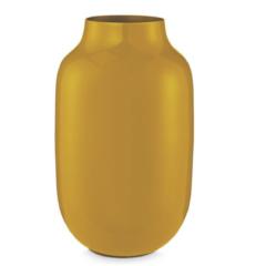 Jarrón de metal ovalado amarillo 30 cm 2