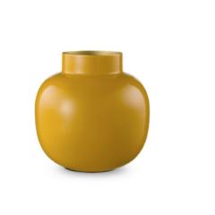 Jarrón redondo de metal amarillo 25 cm 2